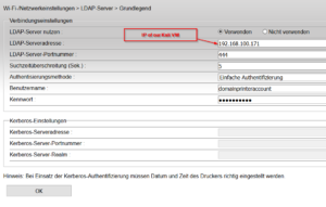 Prinnter LDAP Settings