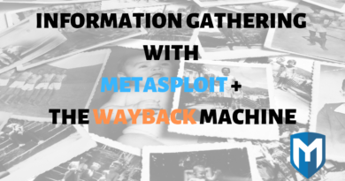 Information Gathering with Metasploit: Wayback Machine