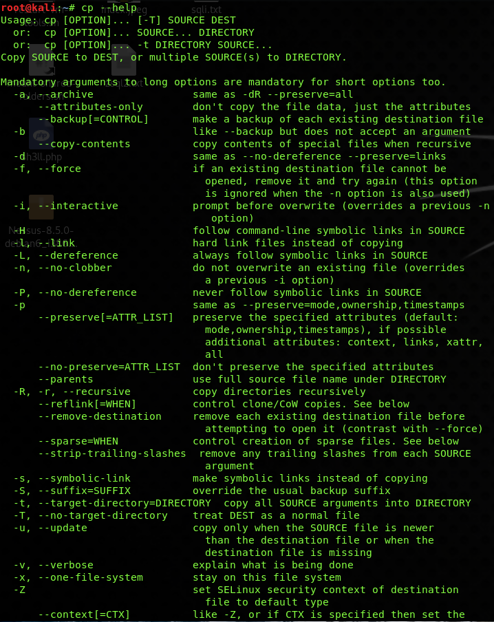 The Linux CP command options page
