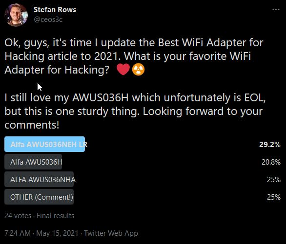 Best WiFi Adapter for Kali Linux Poll