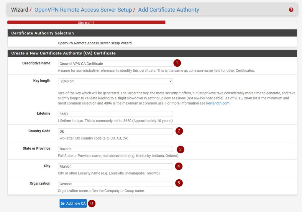 Creating a Certificate Authority on pfSense